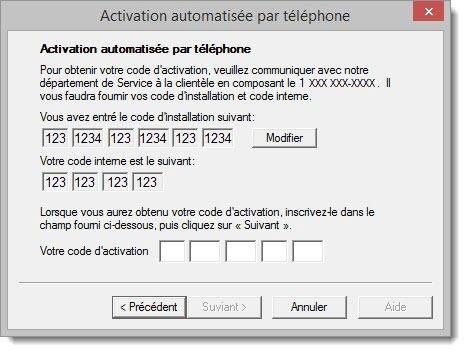 Activation automatisée par téléphone