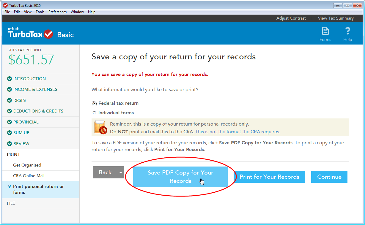 TurboTax CD/download edition button for saving PDF copy of your tax return for your records.