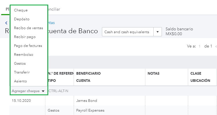 This shows the drop down menu at the top of a register list. You can quickly add transactions from this menu.