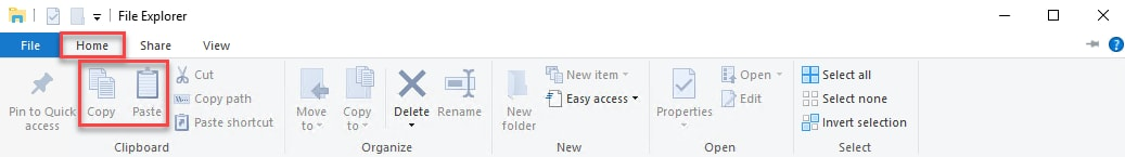 File Explorer's Copy and Paste Buttons
