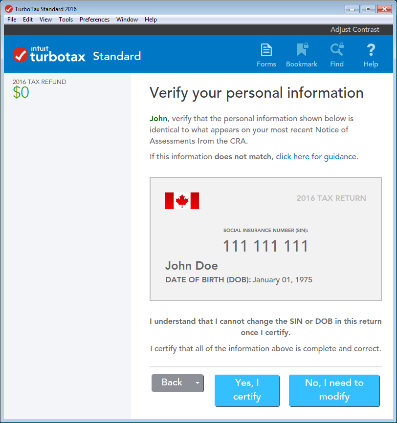 TurboTax CD/download edition - Verify your personal information page in the Review stage