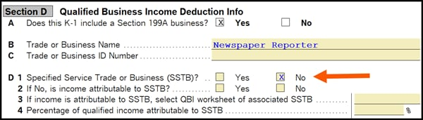 Section D Qualified Business Income Deduction Info