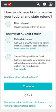 Screenshot of Refund Advance option in TurboTax mobile app