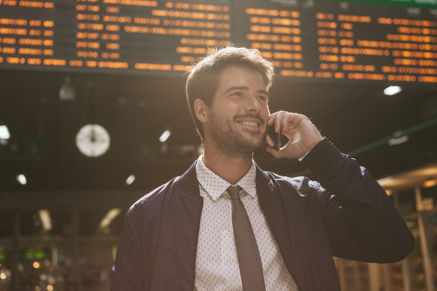 Business traveler on the phone