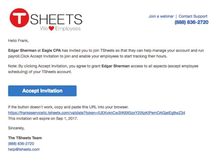Accept invitation email