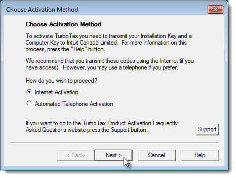 Choose Activation Method page during the installation of TurboTax for Tax Year 2016 on Windows 7