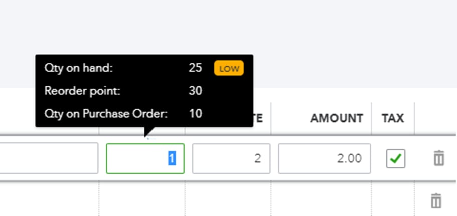 Hover your pointer over a product's quantity on any transaction. This lets you check what's on hand or what's on order.