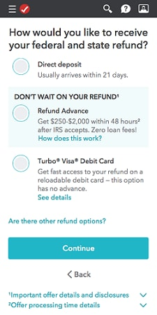 Refund Advance selection screen