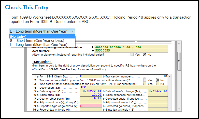 Form 1099 B Worksheet Turbotax Support Get Help Using Turbotax