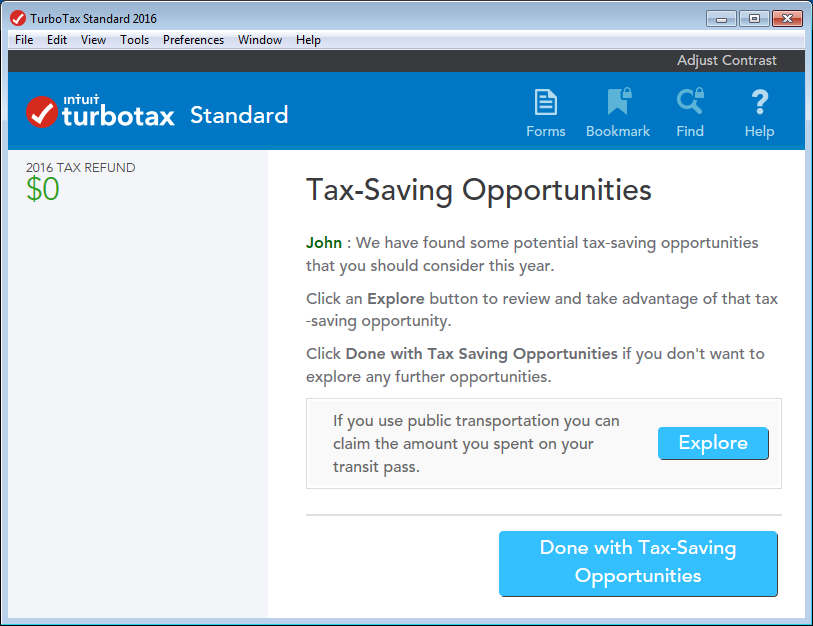 TurboTax CD/download edition Tax-Saving Opportunities page at the Review stage