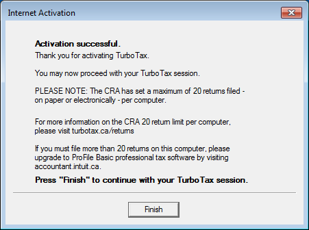 Activation successful message page after TurboTax Installation completes on Windows 7