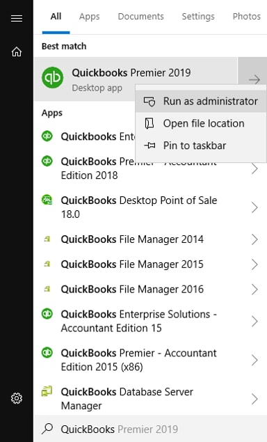 Shows the Run as administrator option when you right-click on QuickBooks Desktop