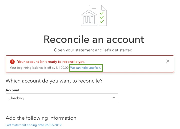 Fix beginning balance issues in QuickBooks Online