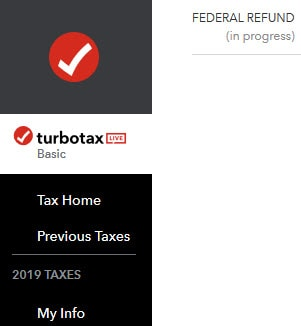 TurboTax Live logo example in left menu