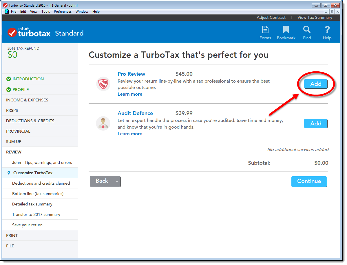 TurboTax CD/download edition screen for adding Pro Review to your tax return