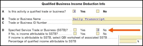 QBI information worksheet