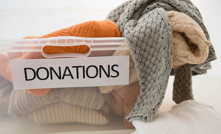 Donations bin with sweaters