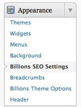 Billions SEO Settings in WordPress