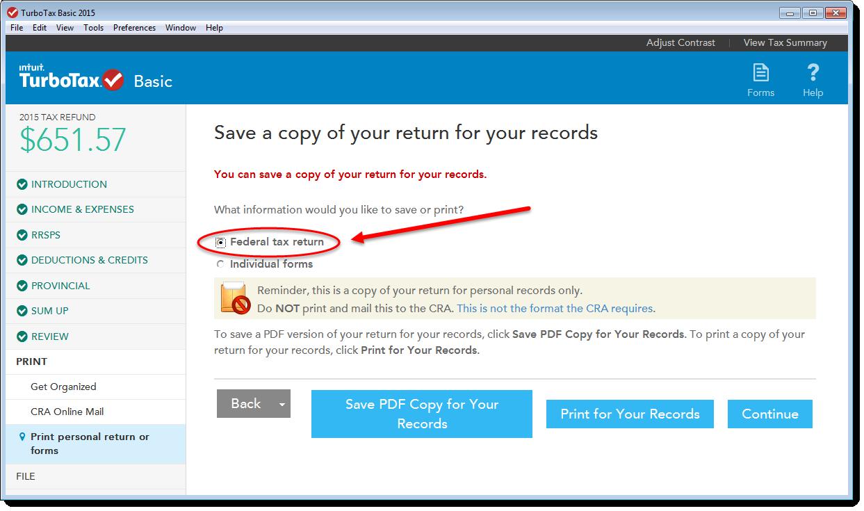 TurboTax CD/download edition save option: Federal tax return