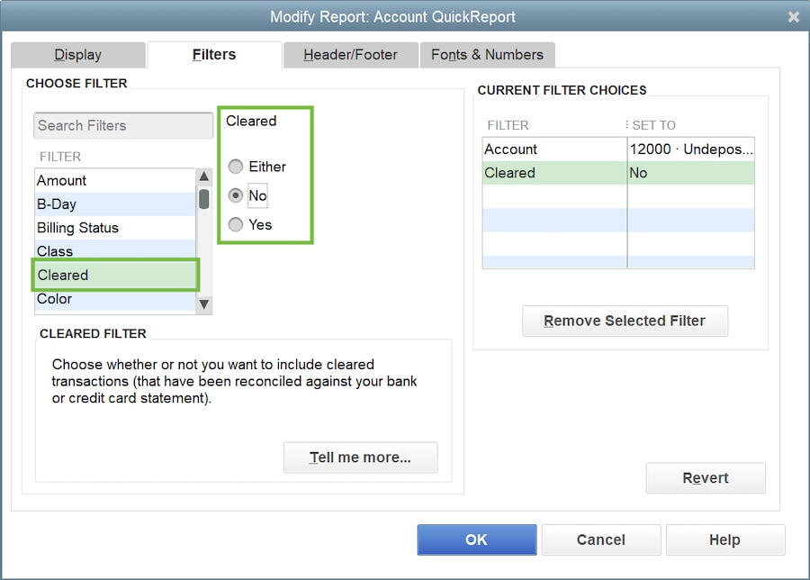 This image shows the custom settings you can make to your Undeposited Funds quick report.