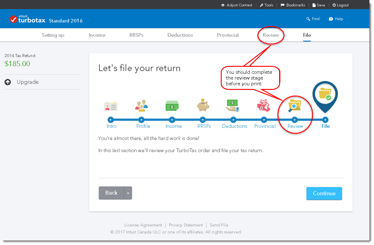 TurboTax Online edition Review stage