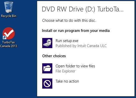 Windows 8 DVD RW Drive screen