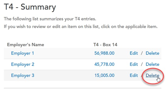 TurboTax T4 Summary screen with Delete option highlighted