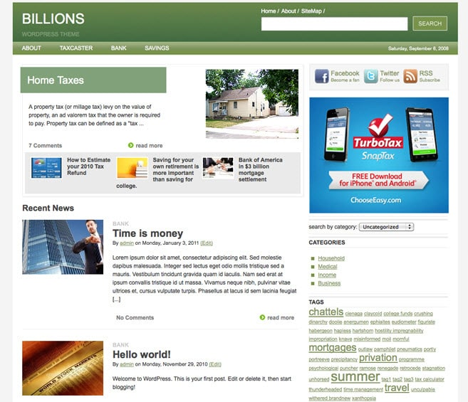 Billions Home Page Design