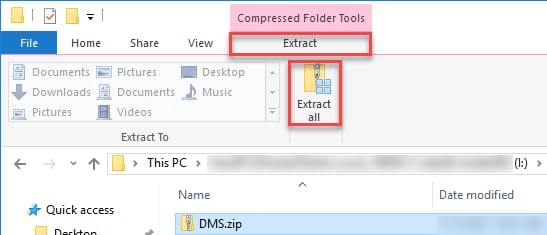 File Explorer's Extract Tab's Extract All