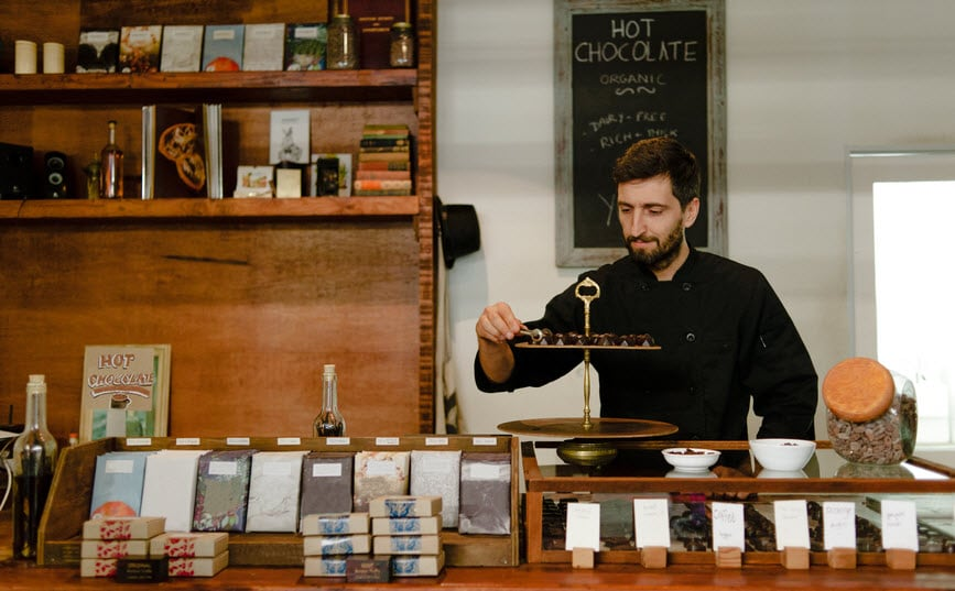 Man working in his chocolate shop