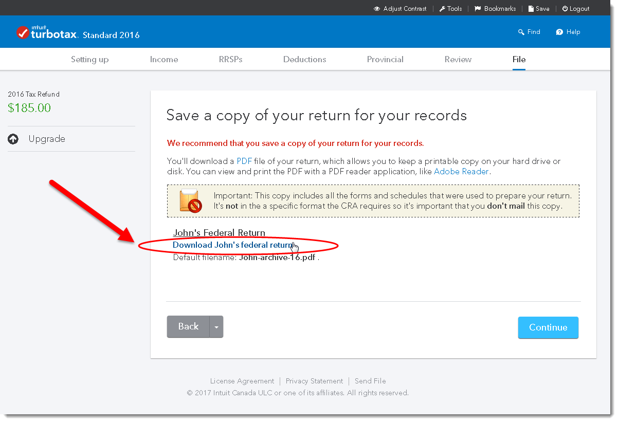Link to download your tax return in TurboTax Online
