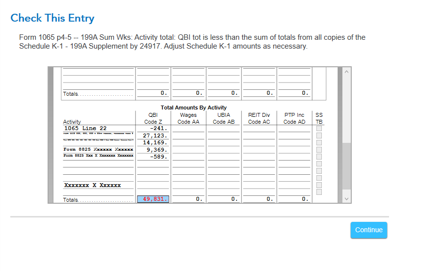 Does The 199a Summary Worksheet Correctly Compare The Totals On Turbotax 174 Support Get