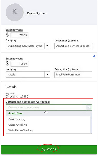Create a contractor direct deposit payment in QuickBooks Online