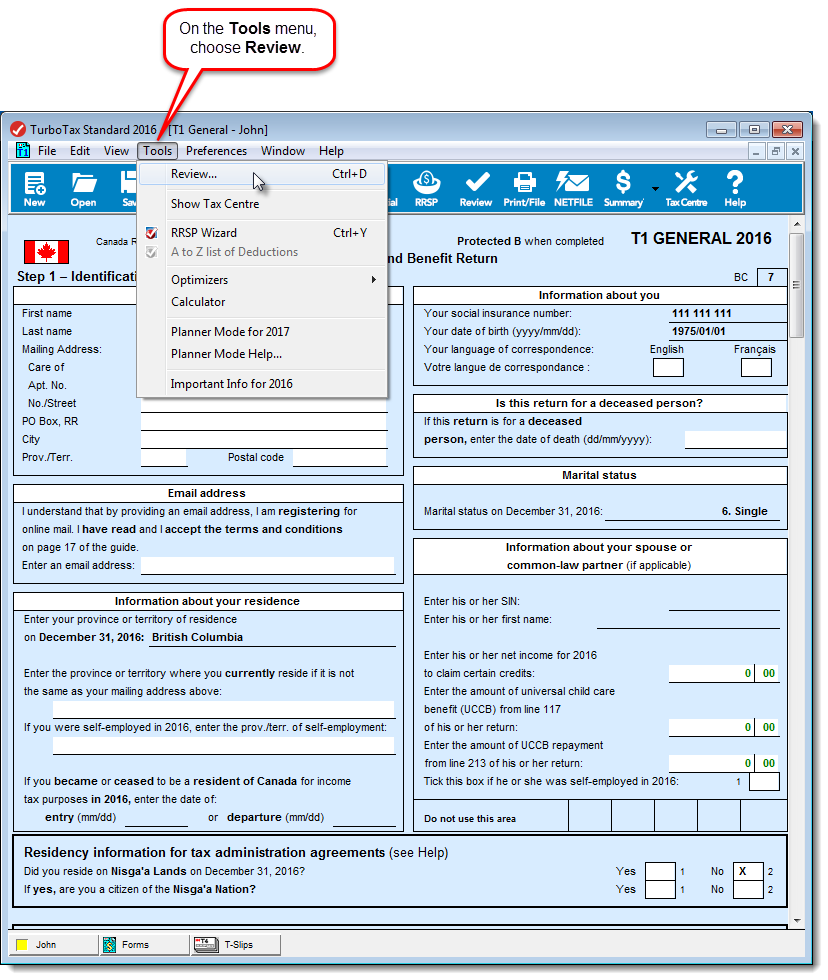 TurboTax CD/download in Forms method with Review command on the Tools menu