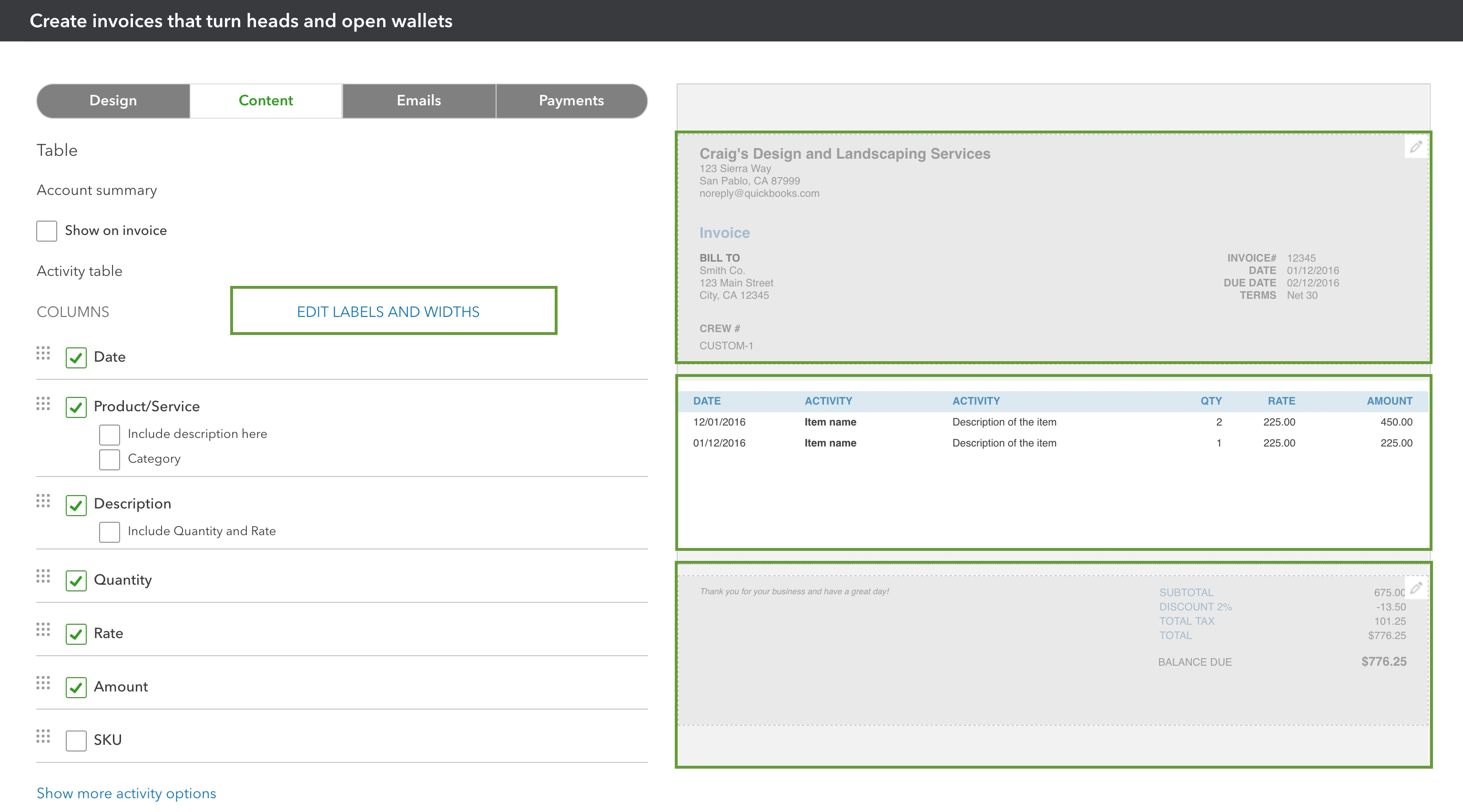 Customize Your Invoices Estimates And Sales Rece