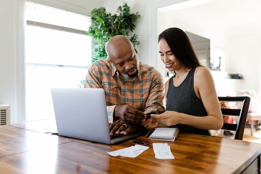 Couple preparing their tax return