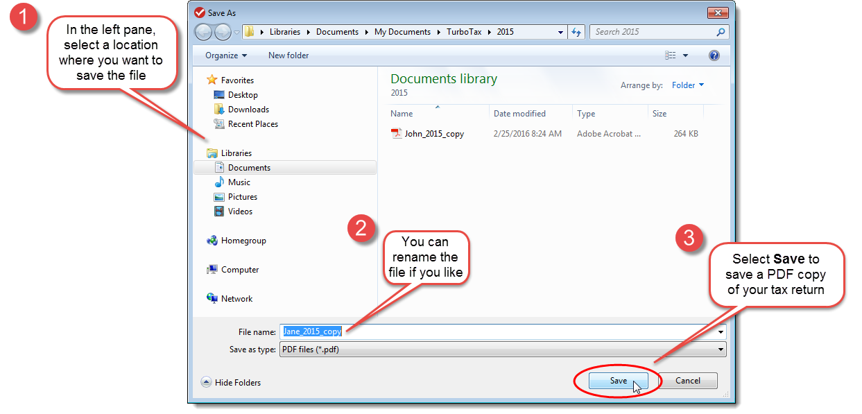 TurboTax CD/Download edition Save As dialog box for saving a copy of your tax return as a PDF file.