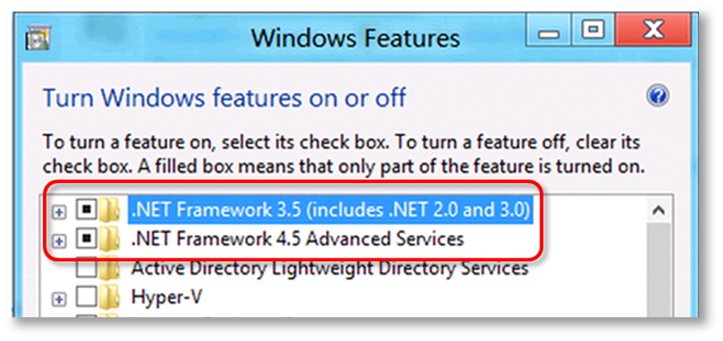 This shows a list of Windows features you can turn on and off