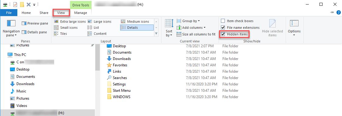 File Explorer's Hidden Items checkbox