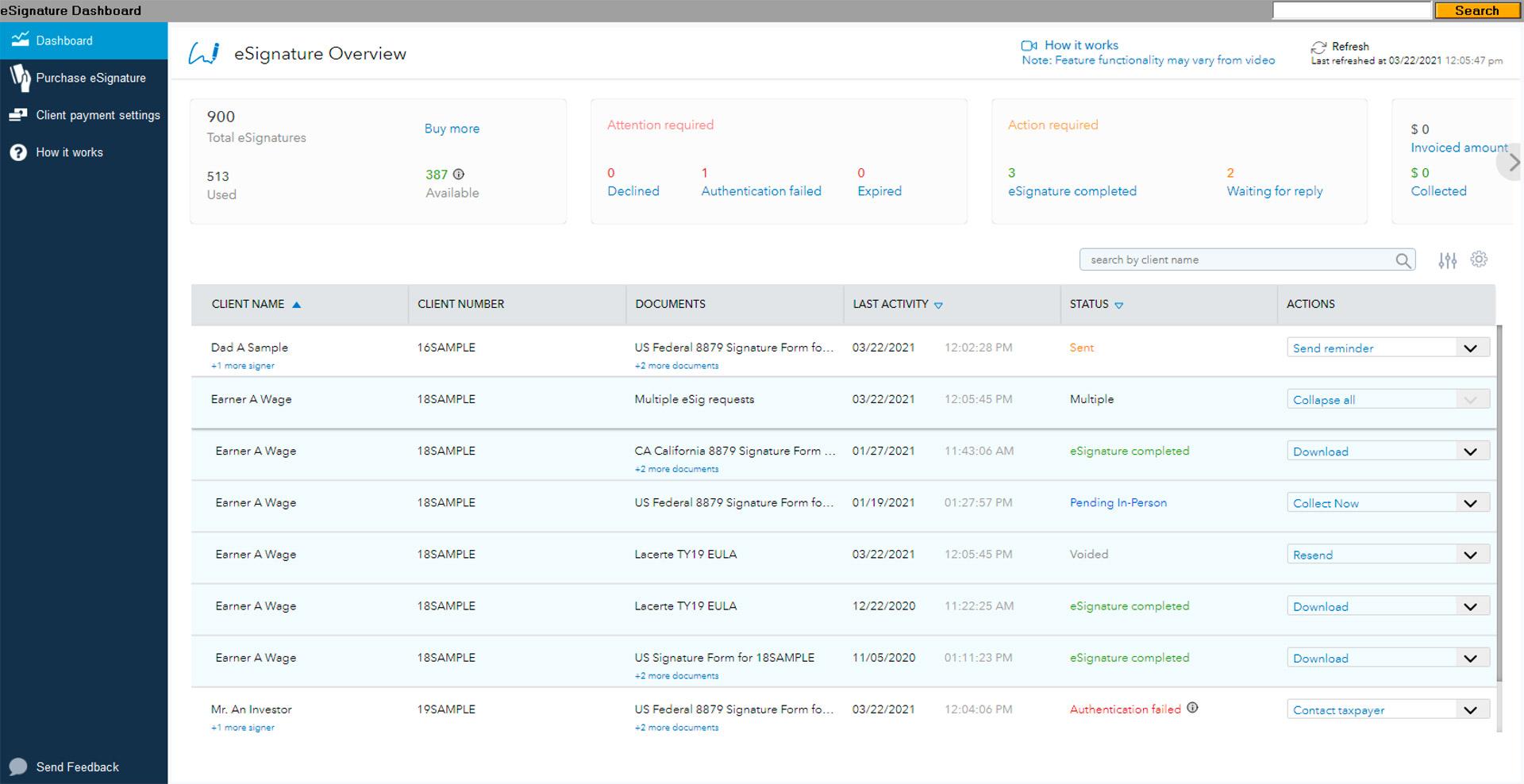Lacerte & ProSeries eSignature dashboard